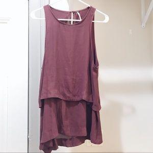 Free People Maroon Sleeveless Open Back Dress